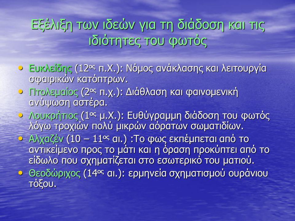 Εξέλιξη των ιδεών για τη διάδοση και τις ιδιότητες του φωτός Ευκλείδης (12 ος π.Χ.): Νόμος ανάκλασης και λειτουργία σφαιρικών κατόπτρων.