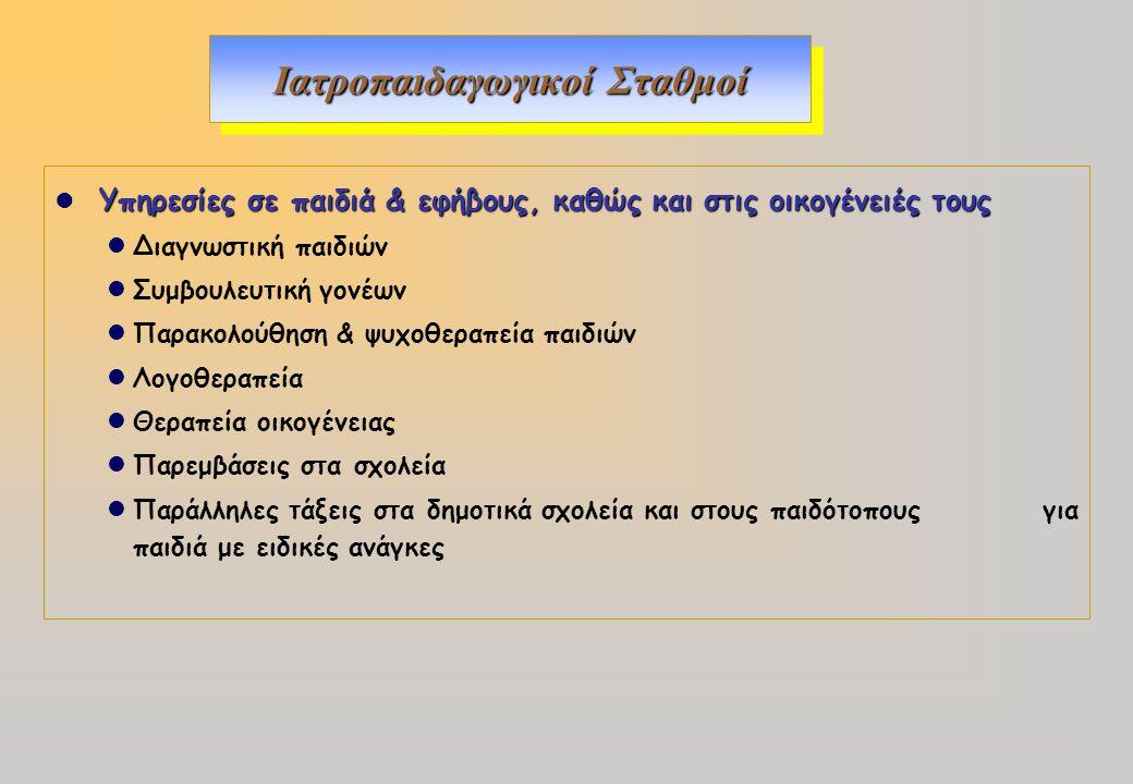 Ιατροπαιδαγωγικοί Σταθμοί Υπηρεσίες σε παιδιά & εφήβους, καθώς και στις οικογένειές τους Διαγνωστική παιδιών Συμβουλευτική γονέων Παρακολούθηση & ψυχο