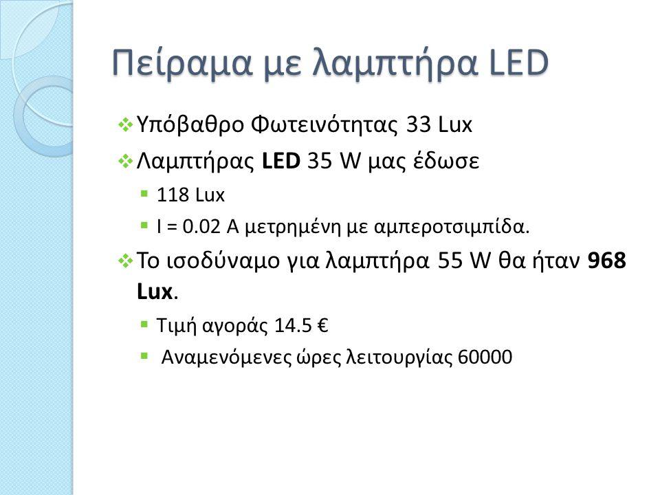 Πείραμα με λαμπτήρα LED  Υπόβαθρο Φωτεινότητας 33 Lux  Λαμπτήρας LED 35 W μας έδωσε  118 Lux  I = 0.02 A μετρημένη με αμπεροτσιμπίδα.