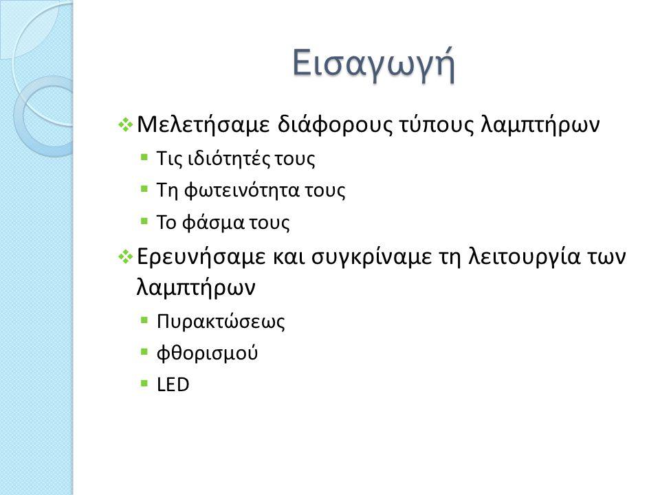 Εισαγωγή  Μελετήσαμε διάφορους τύπους λαμπτήρων  Τις ιδιότητές τους  Τη φωτεινότητα τους  Το φάσμα τους  Ερευνήσαμε και συγκρίναμε τη λειτουργία των λαμπτήρων  Πυρακτώσεως  φθορισμού  LED