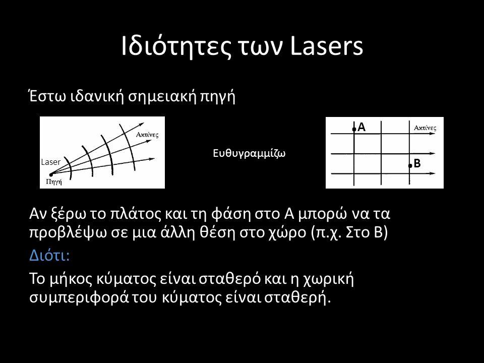 Ιδιότητες των Lasers Έστω ιδανική σημειακή πηγή Αν ξέρω το πλάτος και τη φάση στο Α μπορώ να τα προβλέψω σε μια άλλη θέση στο χώρο (π.χ. Στο Β) Διότι: