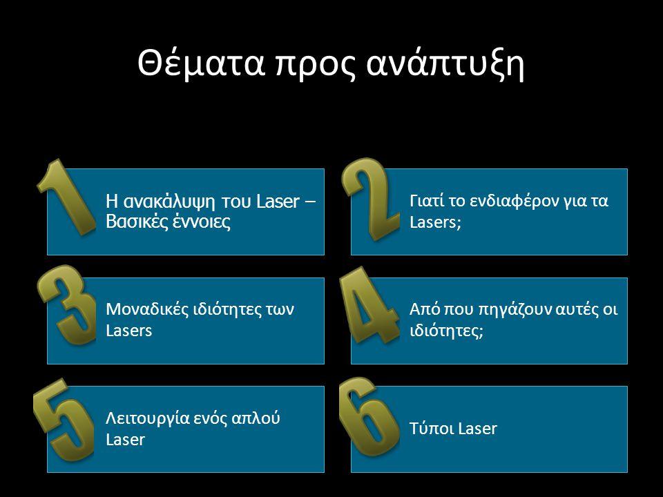 Θέματα προς ανάπτυξη Η ανακάλυψη του Laser – Βασικές έννοιες Γιατί το ενδιαφέρον για τα Lasers; Μοναδικές ιδιότητες των Lasers Από που πηγάζουν αυτές οι ιδιότητες; Λειτουργία ενός απλού Laser Τύποι Laser