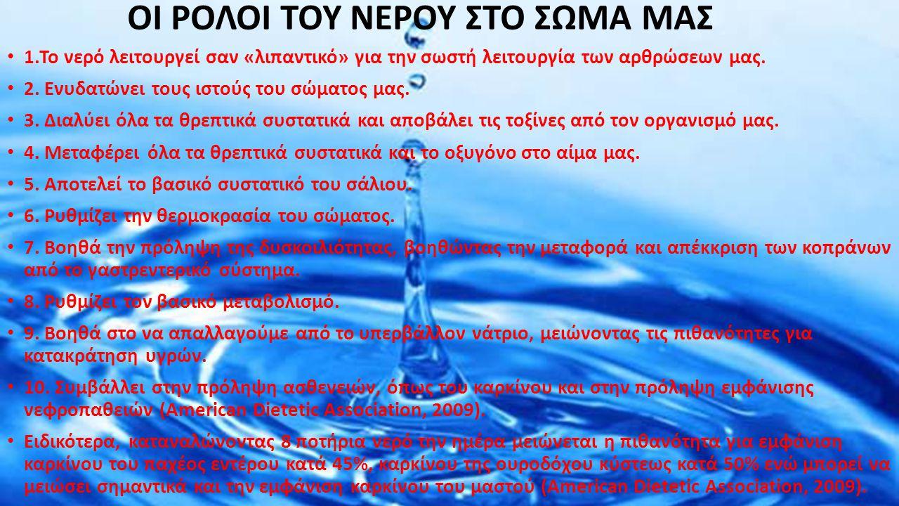 1.Το νερό λειτουργεί σαν «λιπαντικό» για την σωστή λειτουργία των αρθρώσεων μας. 2. Ενυδατώνει τους ιστούς του σώματος μας. 3. Διαλύει όλα τα θρεπτικά