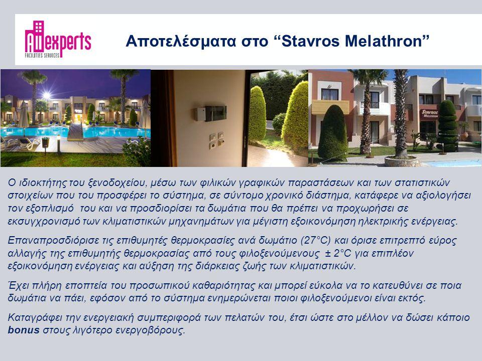 Αποτελέσματα στο Stavros Melathron Ο ιδιοκτήτης του ξενοδοχείου, μέσω των φιλικών γραφικών παραστάσεων και των στατιστικών στοιχείων που του προσφέρει το σύστημα, σε σύντομο χρονικό διάστημα, κατάφερε να αξιολογήσει τον εξοπλισμό του και να προσδιορίσει τα δωμάτια που θα πρέπει να προχωρήσει σε εκσυγχρονισμό των κλιματιστικών μηχανημάτων για μέγιστη εξοικονόμηση ηλεκτρικής ενέργειας.