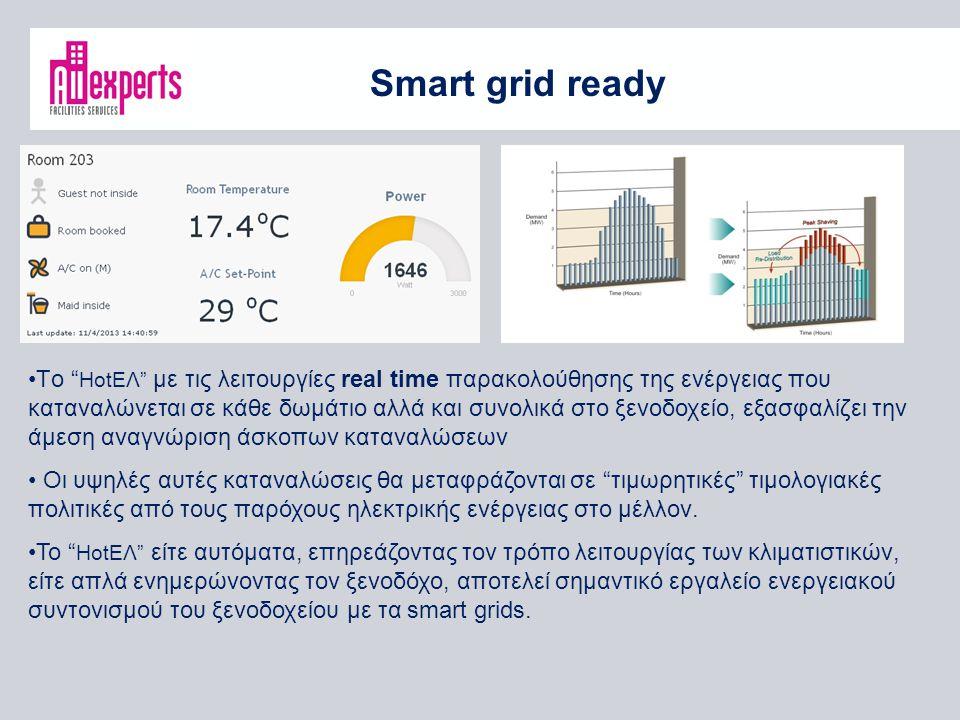 Smart grid ready Τo HοtΕΛ με τις λειτουργίες real time παρακολούθησης της ενέργειας που καταναλώνεται σε κάθε δωμάτιο αλλά και συνολικά στο ξενοδοχείο, εξασφαλίζει την άμεση αναγνώριση άσκοπων καταναλώσεων Οι υψηλές αυτές καταναλώσεις θα μεταφράζονται σε τιμωρητικές τιμολογιακές πολιτικές από τους παρόχους ηλεκτρικής ενέργειας στο μέλλον.