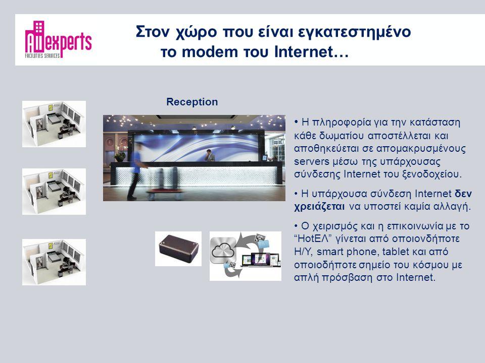 Στον χώρο που είναι εγκατεστημένο το modem του Internet… Reception Η πληροφορία για την κατάσταση κάθε δωματίου αποστέλλεται και αποθηκεύεται σε απομακρυσμένους servers μέσω της υπάρχουσας σύνδεσης Internet του ξενοδοχείου.