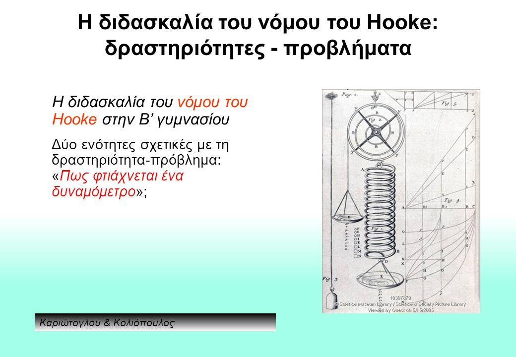 Η διδασκαλία του νόμου του Hooke: δραστηριότητες - προβλήματα Η διδασκαλία του νόμου του Hooke στην Β' γυμνασίου Δύο ενότητες σχετικές με τη δραστηριότητα-πρόβλημα: «Πως φτιάχνεται ένα δυναμόμετρο»; Καριώτογλου & Κολιόπουλος