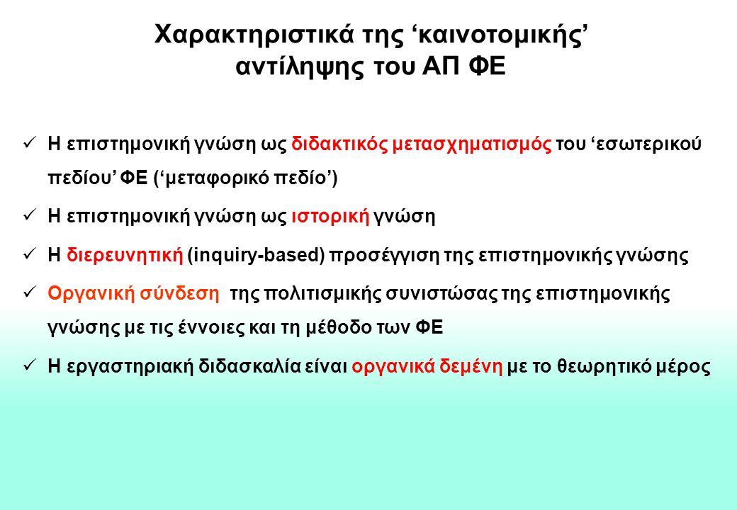 Χαρακτηριστικά της 'καινοτομικής' αντίληψης του ΑΠ ΦΕ Η επιστημονική γνώση ως διδακτικός μετασχηματισμός του 'εσωτερικού πεδίου' ΦΕ ('μεταφορικό πεδίο') Η επιστημονική γνώση ως ιστορική γνώση Η διερευνητική (inquiry-based) προσέγγιση της επιστημονικής γνώσης Οργανική σύνδεση της πολιτισμικής συνιστώσας της επιστημονικής γνώσης με τις έννοιες και τη μέθοδο των ΦΕ Η εργαστηριακή διδασκαλία είναι οργανικά δεμένη με το θεωρητικό μέρος