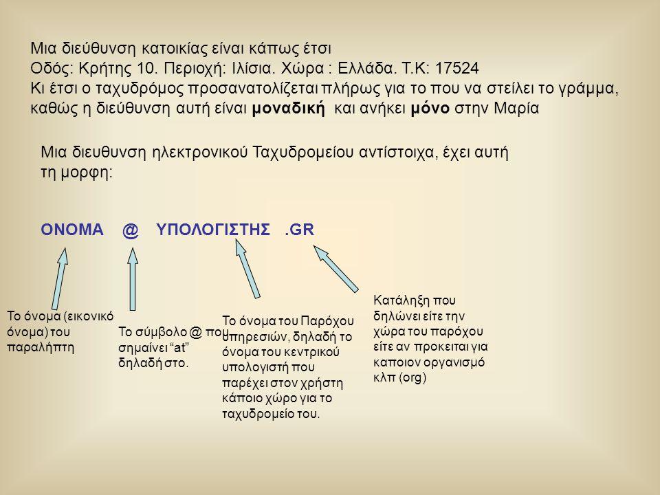 Μια διεύθυνση κατοικίας είναι κάπως έτσι Οδός: Κρήτης 10. Περιοχή: Ιλίσια. Χώρα : Ελλάδα. Τ.Κ: 17524 Κι έτσι ο ταχυδρόμος προσανατολίζεται πλήρως για