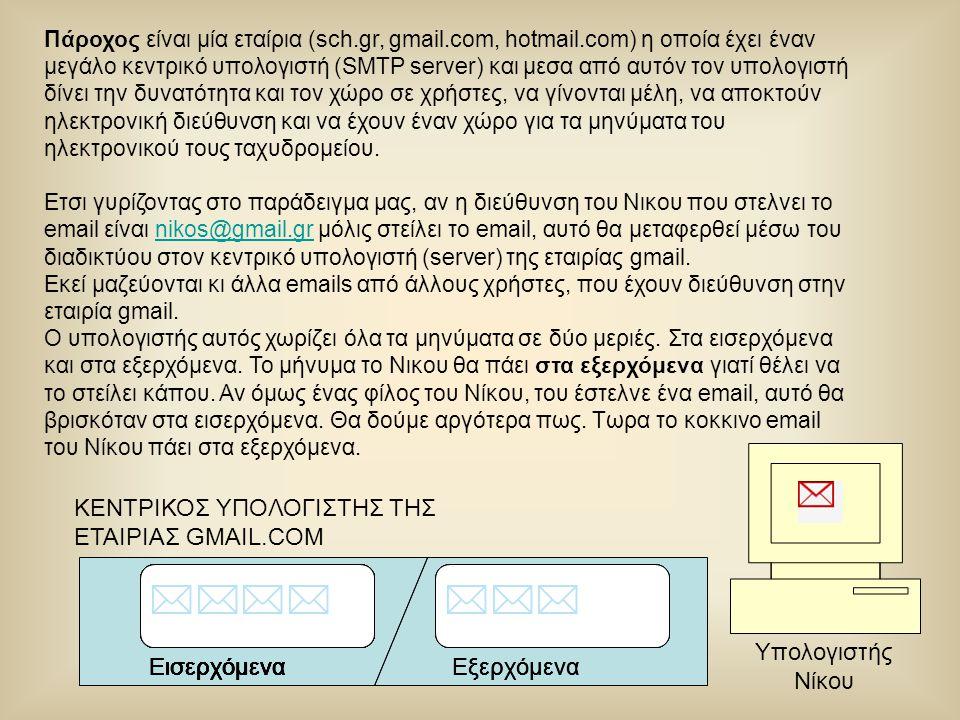 Πάροχος είναι μία εταίρια (sch.gr, gmail.com, hotmail.com) η οποία έχει έναν μεγάλο κεντρικό υπολογιστή (SMTP server) και μεσα από αυτόν τον υπολογιστ