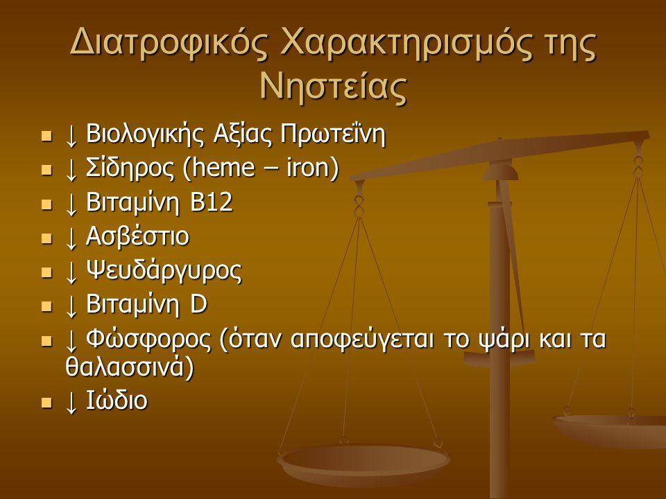 Διατροφικός Χαρακτηρισμός της Νηστείας ↓ Βιολογικής Αξίας Πρωτεΐνη ↓ Βιολογικής Αξίας Πρωτεΐνη ↓ Σίδηρος (heme – iron) ↓ Σίδηρος (heme – iron) ↓ Βιταμ