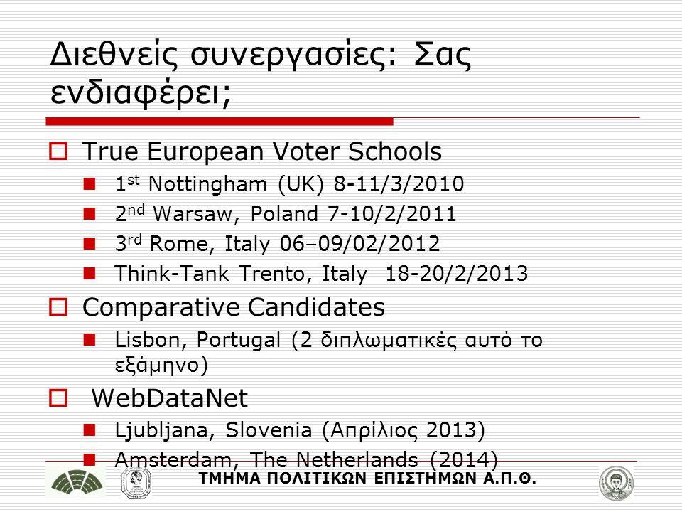 ΤΜΗΜΑ ΠΟΛΙΤΙΚΩΝ ΕΠΙΣΤΗΜΩΝ Α.Π.Θ. Διεθνείς συνεργασίες: Σας ενδιαφέρει;  True European Voter Schools 1 st Nottingham (UK) 8-11/3/2010 2 nd Warsaw, Pol