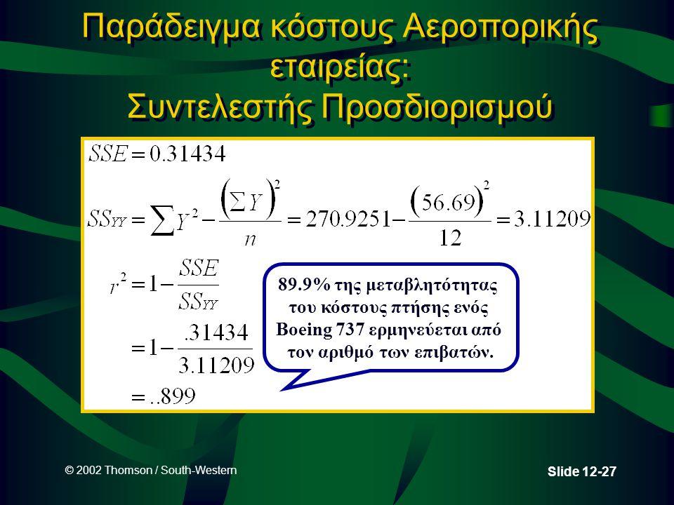 © 2002 Thomson / South-Western Slide 12-27 Παράδειγμα κόστους Αεροπορικής εταιρείας: Συντελεστής Προσδιορισμού 89.9% της μεταβλητότητας του κόστους πτ