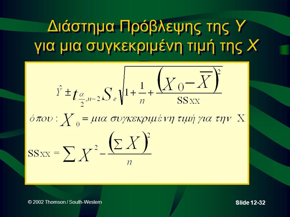 © 2002 Thomson / South-Western Slide 12-32 Διάστημα Πρόβλεψης της Y για μια συγκεκριμένη τιμή της X