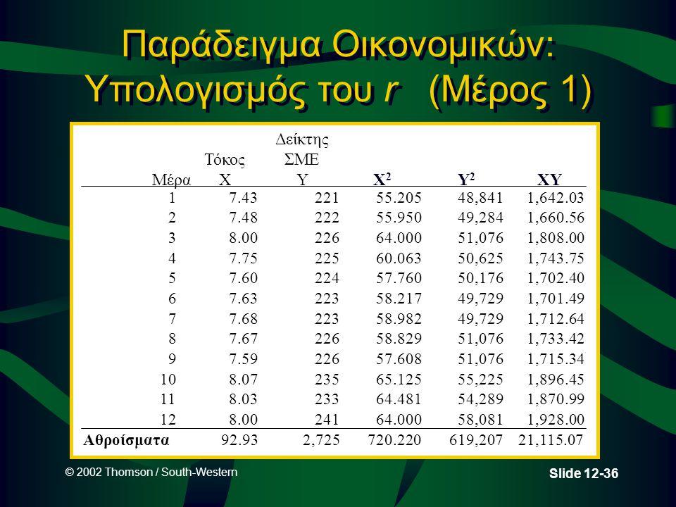 © 2002 Thomson / South-Western Slide 12-36 Παράδειγμα Οικονομικών: Υπολογισμός του r (Μέρος 1) Μέρα Τόκος X Δείκτης ΣΜΕ Y 17.4322155.20548,8411,642.03