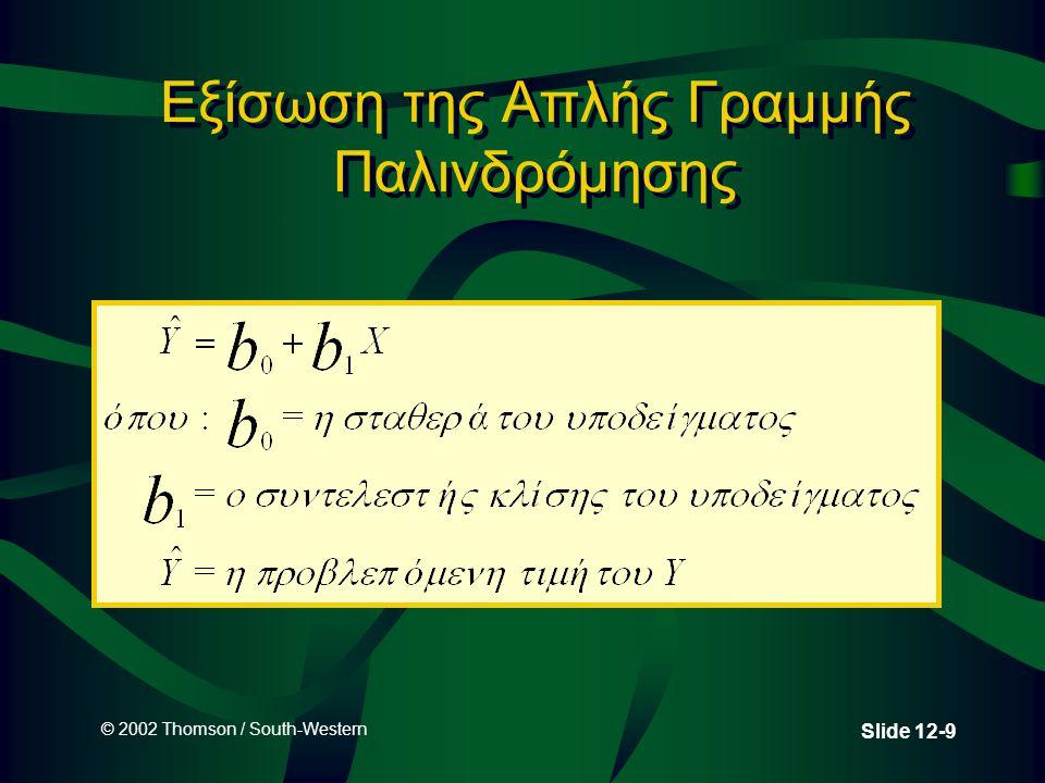 © 2002 Thomson / South-Western Slide 12-9 Εξίσωση της Απλής Γραμμής Παλινδρόμησης