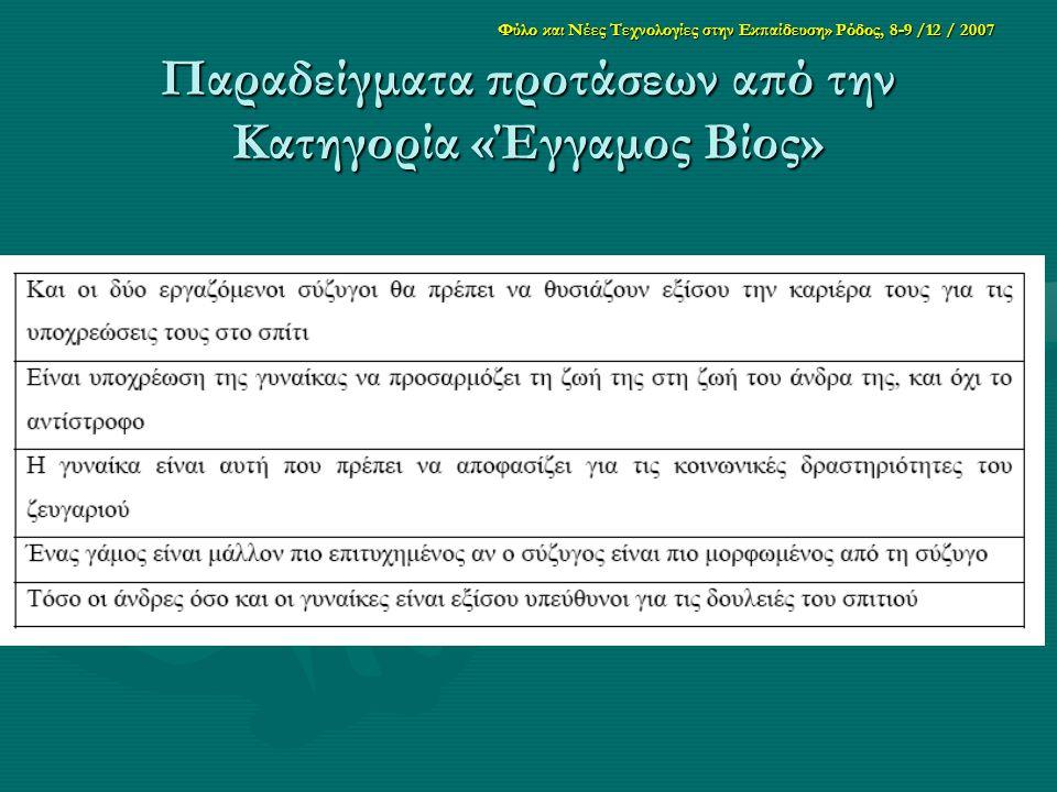 Φύλο και Νέες Τεχνολογίες στην Εκπαίδευση» Ρόδος, 8-9 /12 / 2007 Παραδείγματα προτάσεων από την Κατηγορία «Έγγαμος Βίος»
