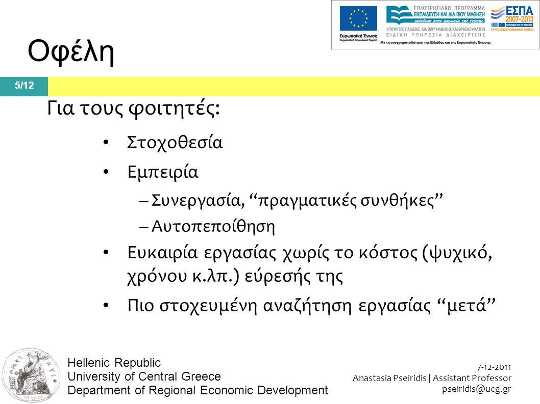 5/12 7-12-2011 Anastasia Pseiridis | Assistant Professor pseiridis@ucg.gr Hellenic Republic University of Central Greece Department of Regional Economic Development Οφέλη Για τους φοιτητές: Στοχοθεσία Εμπειρία – Συνεργασία, πραγματικές συνθήκες – Αυτοπεποίθηση Ευκαιρία εργασίας χωρίς το κόστος (ψυχικό, χρόνου κ.λπ.) εύρεσής της Πιο στοχευμένη αναζήτηση εργασίας μετά