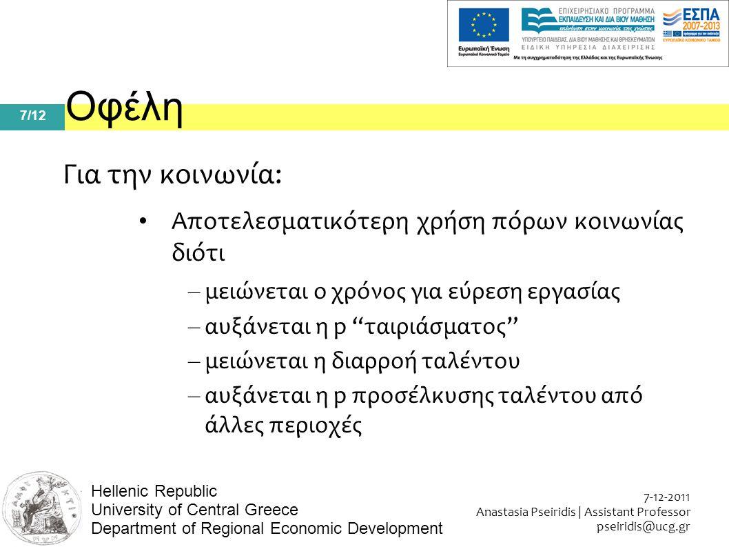 7/12 7-12-2011 Anastasia Pseiridis | Assistant Professor pseiridis@ucg.gr Hellenic Republic University of Central Greece Department of Regional Economic Development Οφέλη Για την κοινωνία: Αποτελεσματικότερη χρήση πόρων κοινωνίας διότι – μειώνεται ο χρόνος για εύρεση εργασίας – αυξάνεται η p ταιριάσματος – μειώνεται η διαρροή ταλέντου – αυξάνεται η p προσέλκυσης ταλέντου από άλλες περιοχές