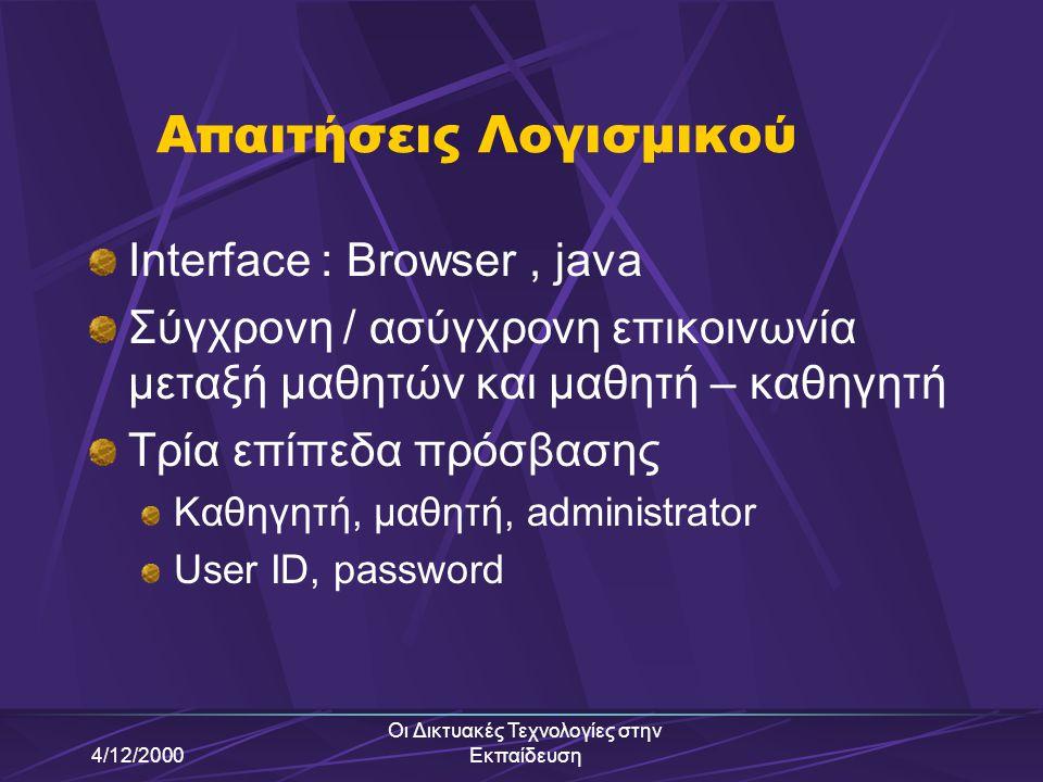 4/12/2000 Οι Δικτυακές Τεχνολογίες στην Εκπαίδευση IntraLearn ΙntraLearn Software Cο. 1994 Ασχολείται με ανάπτυξη εφαρμογών e-Learning