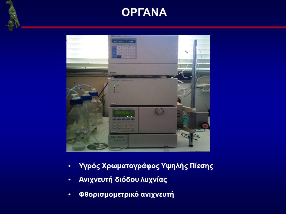 ΟΡΓΑΝΑ Υγρός Χρωματογράφος Υψηλής Πίεσης Ανιχνευτή διόδου λυχνίας Φθορισμομετρικό ανιχνευτή