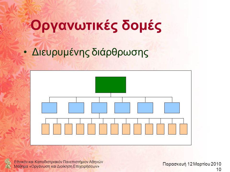Εθνικόν και Καποδιστριακόν Πανεπιστήμιον Αθηνών Μάθημα «Οργάνωση και Διοίκηση Επιχειρήσεων» Παρασκευή 12 Μαρτίου 2010 10 Οργανωτικές δομές Διευρυμένης