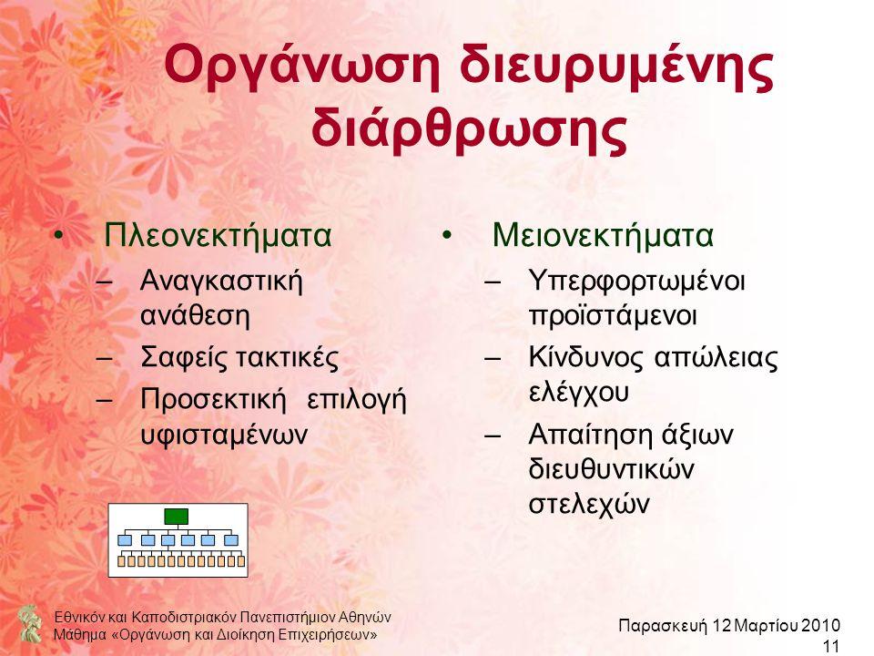 Εθνικόν και Καποδιστριακόν Πανεπιστήμιον Αθηνών Μάθημα «Οργάνωση και Διοίκηση Επιχειρήσεων» Παρασκευή 12 Μαρτίου 2010 11 Οργάνωση διευρυμένης διάρθρωσ