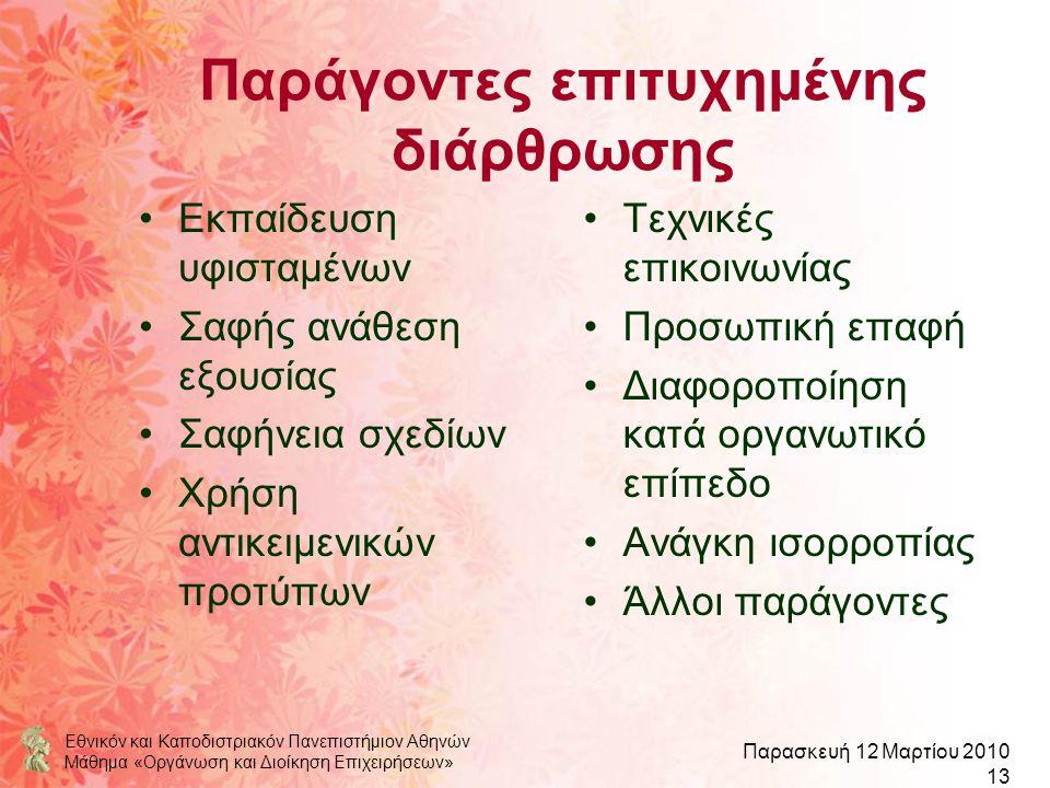 Εθνικόν και Καποδιστριακόν Πανεπιστήμιον Αθηνών Μάθημα «Οργάνωση και Διοίκηση Επιχειρήσεων» Παρασκευή 12 Μαρτίου 2010 13 Παράγοντες επιτυχημένης διάρθ