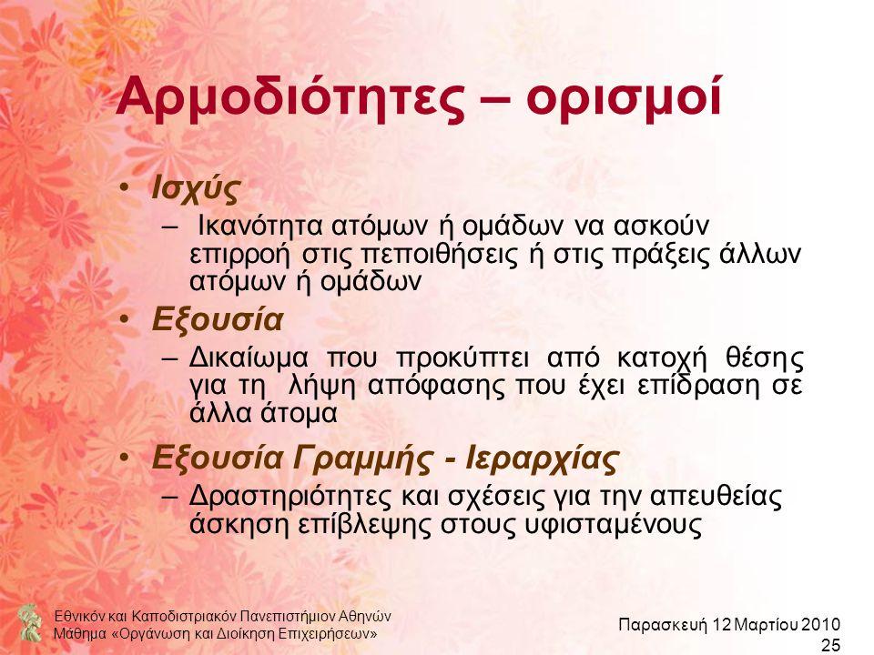 Εθνικόν και Καποδιστριακόν Πανεπιστήμιον Αθηνών Μάθημα «Οργάνωση και Διοίκηση Επιχειρήσεων» Παρασκευή 12 Μαρτίου 2010 25 Αρμοδιότητες – ορισμοί Ισχύς