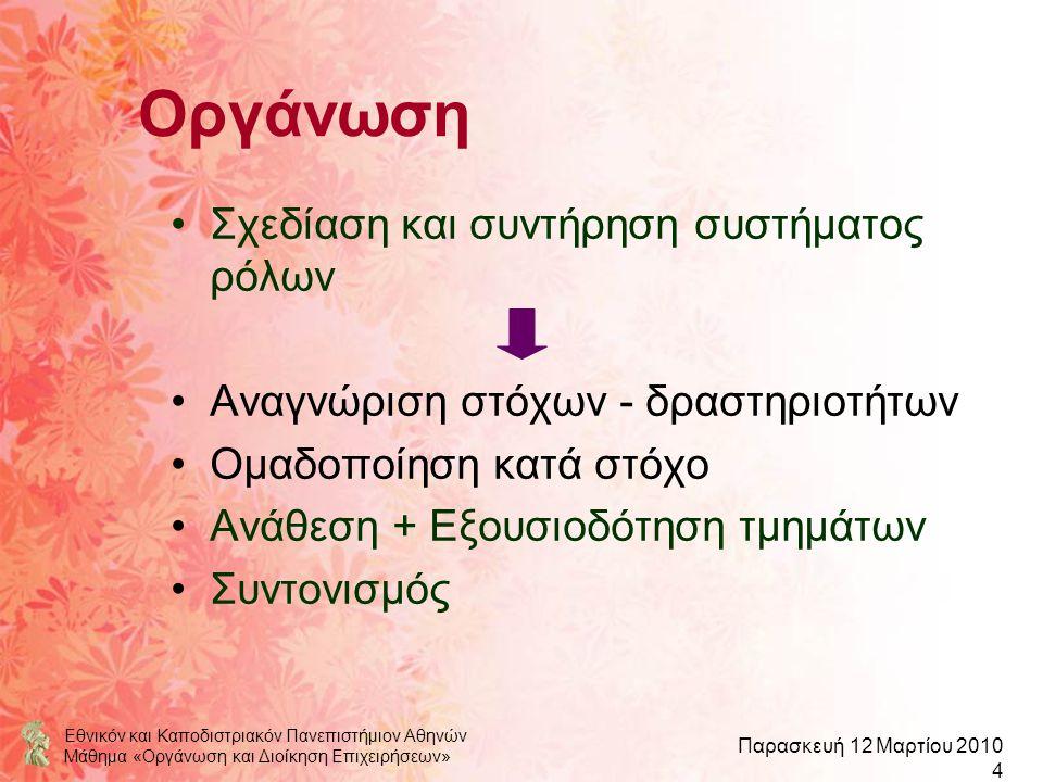 Εθνικόν και Καποδιστριακόν Πανεπιστήμιον Αθηνών Μάθημα «Οργάνωση και Διοίκηση Επιχειρήσεων» Παρασκευή 12 Μαρτίου 2010 4 Οργάνωση Σχεδίαση και συντήρησ