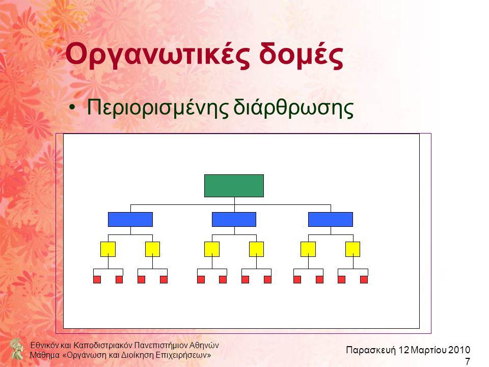Εθνικόν και Καποδιστριακόν Πανεπιστήμιον Αθηνών Μάθημα «Οργάνωση και Διοίκηση Επιχειρήσεων» Παρασκευή 12 Μαρτίου 2010 7 Οργανωτικές δομές Περιορισμένη