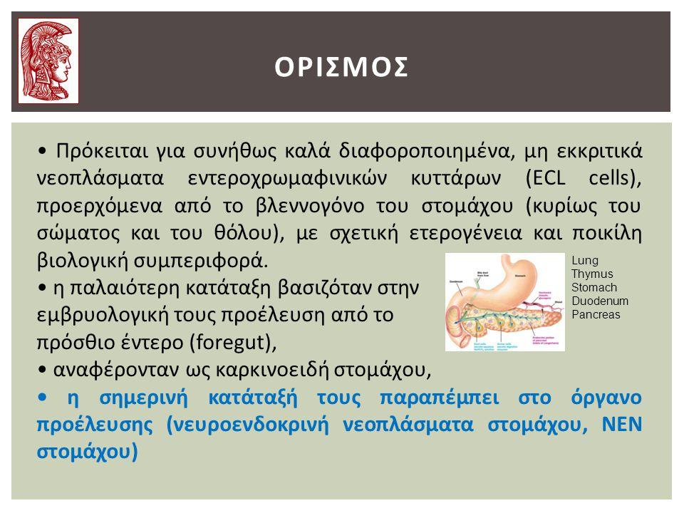 ΟΡΙΣΜΟΣ Πρόκειται για συνήθως καλά διαφοροποιημένα, μη εκκριτικά νεοπλάσματα εντεροχρωμαφινικών κυττάρων (ECL cells), προερχόμενα από το βλεννογόνο του στομάχου (κυρίως του σώματος και του θόλου), με σχετική ετερογένεια και ποικίλη βιολογική συμπεριφορά.