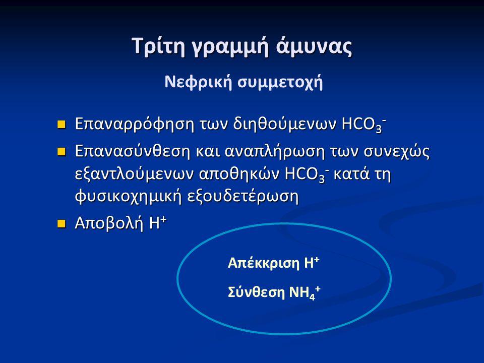 Τρίτη γραμμή άμυνας Επαναρρόφηση των διηθούμενων HCO 3 - Επαναρρόφηση των διηθούμενων HCO 3 - Επανασύνθεση και αναπλήρωση των συνεχώς εξαντλούμενων απ