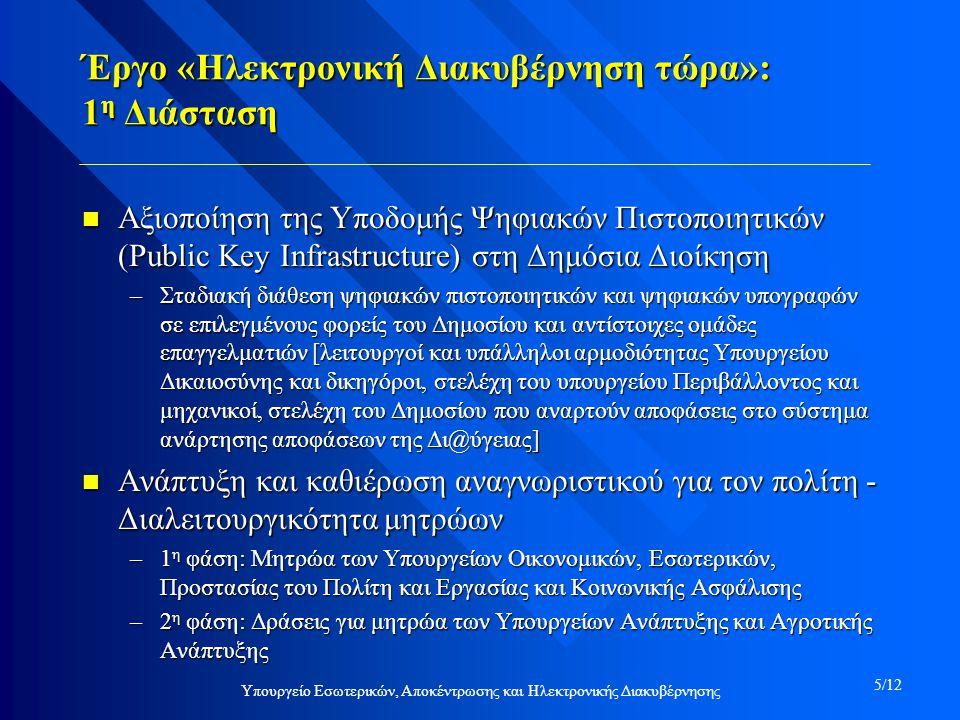 Έργο «Ηλεκτρονική Διακυβέρνηση τώρα»: 1 η Διάσταση n Αξιοποίηση της Υποδομής Ψηφιακών Πιστοποιητικών (Public Key Infrastructure) στη Δημόσια Διοίκηση –Σταδιακή διάθεση ψηφιακών πιστοποιητικών και ψηφιακών υπογραφών σε επιλεγμένους φορείς του Δημοσίου και αντίστοιχες ομάδες επαγγελματιών [λειτουργοί και υπάλληλοι αρμοδιότητας Υπουργείου Δικαιοσύνης και δικηγόροι, στελέχη του υπουργείου Περιβάλλοντος και μηχανικοί, στελέχη του Δημοσίου που αναρτούν αποφάσεις στο σύστημα ανάρτησης αποφάσεων της Δι@ύγειας] n Ανάπτυξη και καθιέρωση αναγνωριστικού για τον πολίτη - Διαλειτουργικότητα μητρώων –1 η φάση: Μητρώα των Υπουργείων Οικονομικών, Εσωτερικών, Προστασίας του Πολίτη και Εργασίας και Κοινωνικής Ασφάλισης –2 η φάση: Δράσεις για μητρώα των Υπουργείων Ανάπτυξης και Αγροτικής Ανάπτυξης Υπουργείο Εσωτερικών, Αποκέντρωσης και Ηλεκτρονικής Διακυβέρνησης 5/12