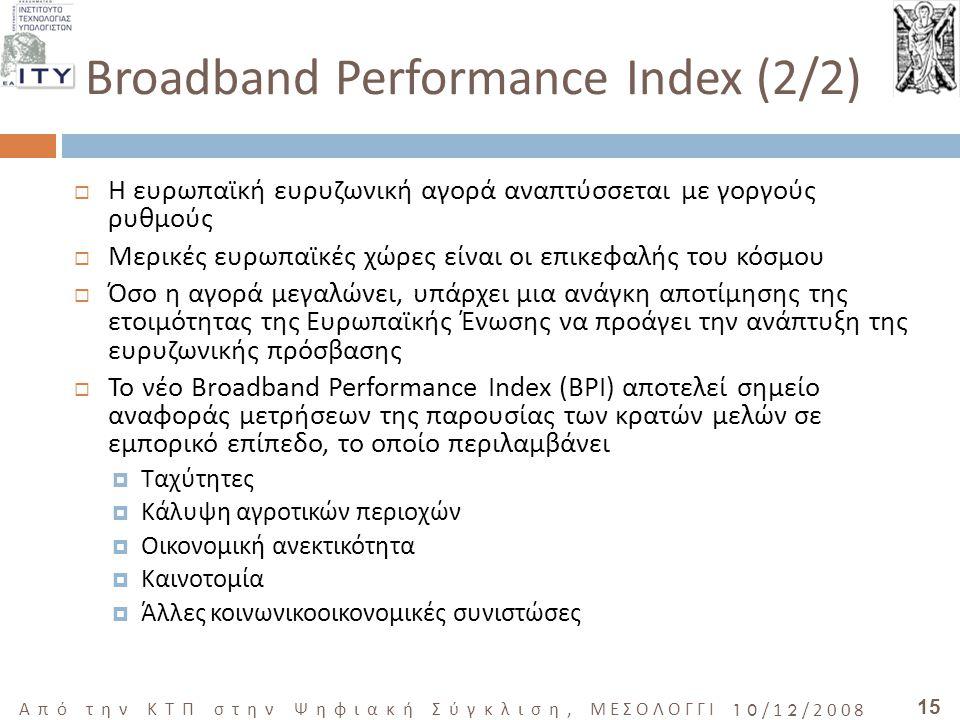 15 Από την ΚΤΠ στην Ψηφιακή Σύγκλιση, ΜΕΣΟΛΟΓΓΙ 10/12/2008 Broadband Performance Index (2/2)  Η ευρωπαϊκή ευρυζωνική αγορά αναπτύσσεται με γοργούς ρυ
