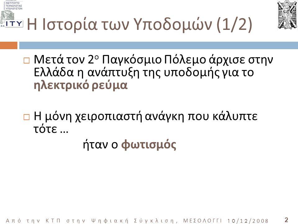 2 Από την ΚΤΠ στην Ψηφιακή Σύγκλιση, ΜΕΣΟΛΟΓΓΙ 10/12/2008  Μετά τον 2 ο Παγκόσμιο Πόλεμο άρχισε στην Ελλάδα η ανάπτυξη της υποδομής για το ηλεκτρικό