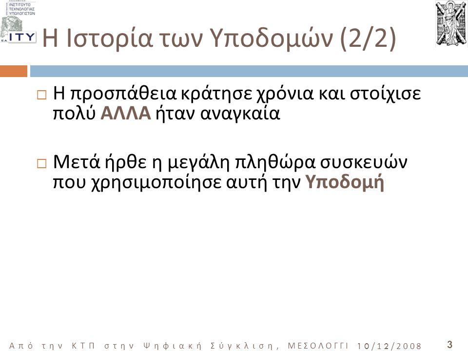 4 Από την ΚΤΠ στην Ψηφιακή Σύγκλιση, ΜΕΣΟΛΟΓΓΙ 10/12/2008  Ποια είναι όμως σήμερα η ΝΕΑ Υποδομή;  Ποιες ανάγκες/ συσκευές/ υπηρεσίες θα καλύψουν τώρα/ αύριο/ στο μέλλον;  Η ΕΥΡΥΖΩΝΙΚΟΤΗΤΑ - ΤΑ ΔΙΚΤΥΑ ΟΠΤΙΚΩΝ ΙΝΩΝ  ΤΩΡΑ ΓΡΗΓΟΡΟ ΙΝΤΕΡΝΕΤ ΚΑΙ ΤΗΛΕΦΩΝΙΑ  ΑΥΡΙΟ HDTV  ΣΤΟ ΜΕΛΛΟΝ ΔΕΝ ΞΕΡΟΥΜΕ ΚΑΛΑ H νέα Υποδομή