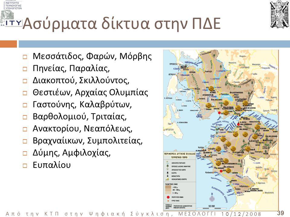 39 Από την ΚΤΠ στην Ψηφιακή Σύγκλιση, ΜΕΣΟΛΟΓΓΙ 10/12/2008  Μεσσάτιδος, Φαρών, Μόρβης  Πηνείας, Παραλίας,  Διακοπτού, Σκιλλούντος,  Θεστιέων, Αρχαίας Ολυμπίας  Γαστούνης, Καλαβρύτων,  Βαρθολομιού, Τριταίας,  Ανακτορίου, Νεαπόλεως,  Βραχναίικων, Συμπολιτείας,  Δύμης, Αμφιλοχίας,  Ευπαλίου Ασύρματα δίκτυα στην ΠΔΕ
