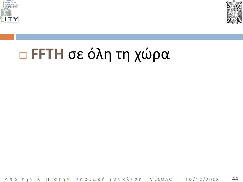 44 Από την ΚΤΠ στην Ψηφιακή Σύγκλιση, ΜΕΣΟΛΟΓΓΙ 10/12/2008  FFTH σε όλη τη χώρα