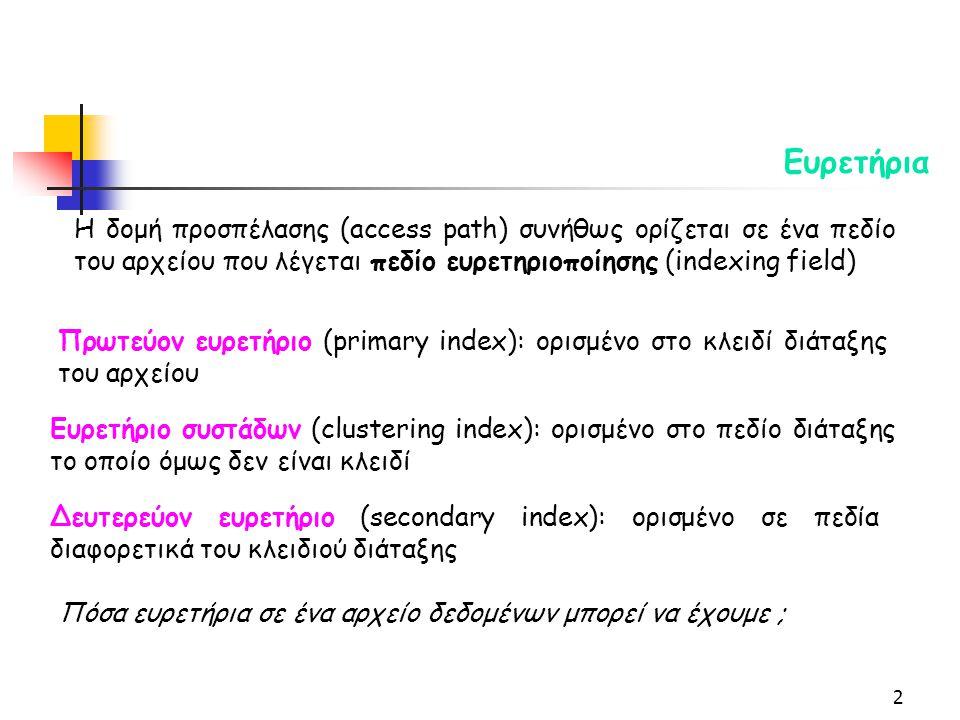2 Πρωτεύον ευρετήριο (primary index): ορισμένο στο κλειδί διάταξης του αρχείου Δευτερεύον ευρετήριο (secondary index): ορισμένο σε πεδία διαφορετικά του κλειδιού διάταξης Ευρετήριο συστάδων (clustering index): ορισμένο στο πεδίο διάταξης το οποίο όμως δεν είναι κλειδί Η δομή προσπέλασης (access path) συνήθως ορίζεται σε ένα πεδίο του αρχείου που λέγεται πεδίο ευρετηριοποίησης (indexing field) Πόσα ευρετήρια σε ένα αρχείο δεδομένων μπορεί να έχουμε ;