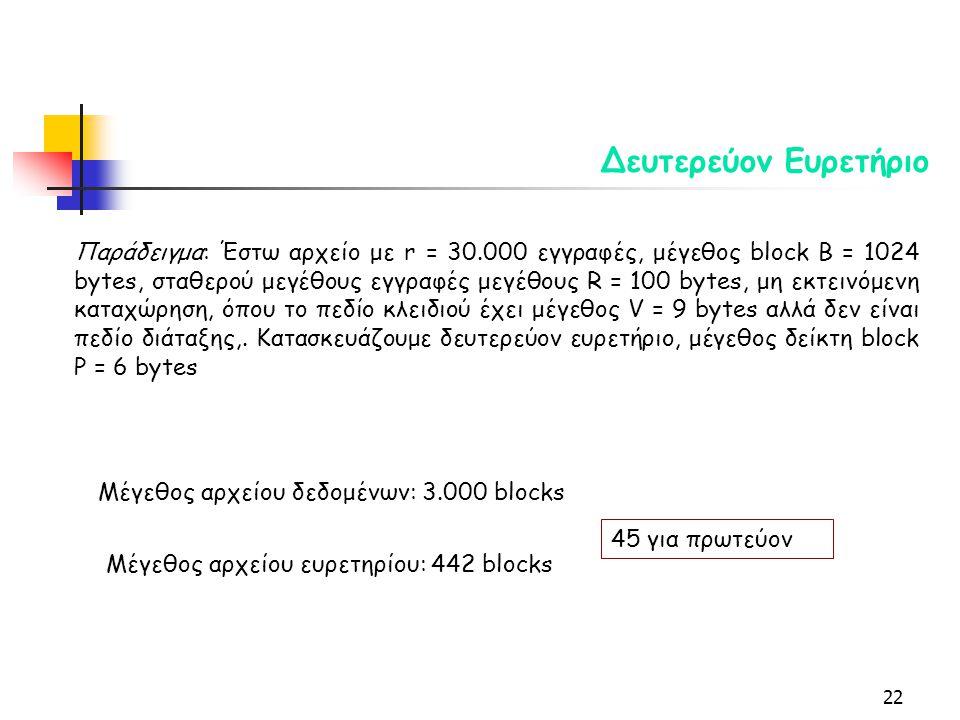 22 Δευτερεύον Ευρετήριο Παράδειγμα: Έστω αρχείο με r = 30.000 εγγραφές, μέγεθος block B = 1024 bytes, σταθερού μεγέθους εγγραφές μεγέθους R = 100 bytes, μη εκτεινόμενη καταχώρηση, όπου το πεδίο κλειδιού έχει μέγεθος V = 9 bytes αλλά δεν είναι πεδίο διάταξης,.