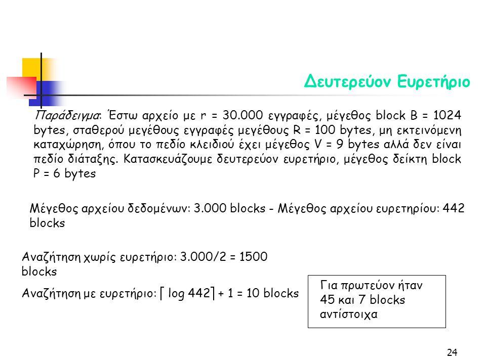 24 Δευτερεύον Ευρετήριο Μέγεθος αρχείου δεδομένων: 3.000 blocks - Μέγεθος αρχείου ευρετηρίου: 442 blocks Αναζήτηση χωρίς ευρετήριο: 3.000/2 = 1500 blocks Αναζήτηση με ευρετήριο:  log 442  + 1 = 10 blocks Παράδειγμα: Έστω αρχείο με r = 30.000 εγγραφές, μέγεθος block B = 1024 bytes, σταθερού μεγέθους εγγραφές μεγέθους R = 100 bytes, μη εκτεινόμενη καταχώρηση, όπου το πεδίο κλειδιού έχει μέγεθος V = 9 bytes αλλά δεν είναι πεδίο διάταξης.