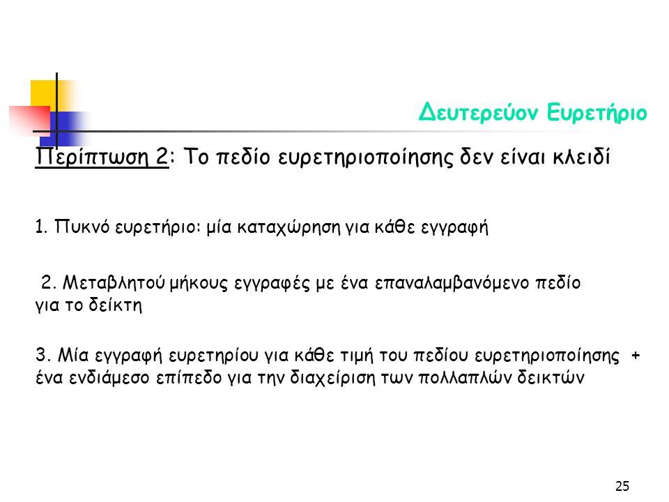 25 Δευτερεύον Ευρετήριο Περίπτωση 2: Το πεδίο ευρετηριοποίησης δεν είναι κλειδί 1.