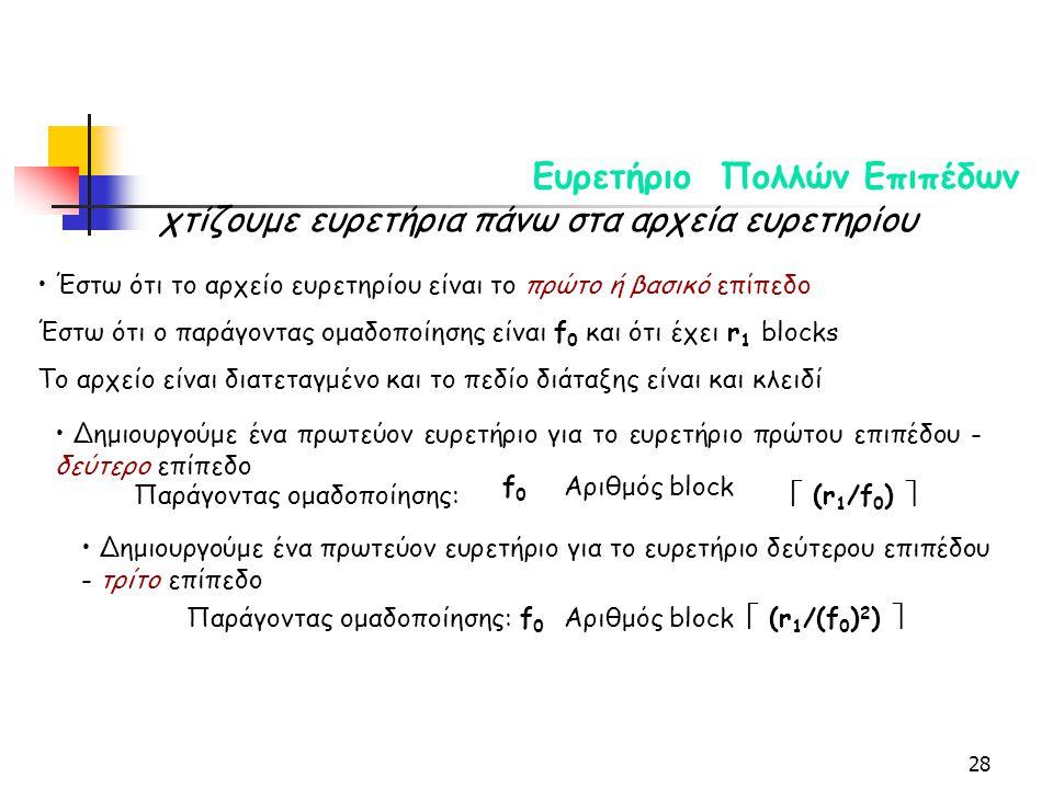 28 Ευρετήριο Πολλών Επιπέδων χτίζουμε ευρετήρια πάνω στα αρχεία ευρετηρίου Έστω ότι το αρχείο ευρετηρίου είναι το πρώτο ή βασικό επίπεδο Έστω ότι ο παράγοντας ομαδοποίησης είναι f 0 και ότι έχει r 1 blocks Το αρχείο είναι διατεταγμένο και το πεδίο διάταξης είναι και κλειδί Δημιουργούμε ένα πρωτεύον ευρετήριο για το ευρετήριο πρώτου επιπέδου - δεύτερο επίπεδο Παράγοντας ομαδοποίησης: f0f0 Αριθμός block  (r 1 /f 0 )  Δημιουργούμε ένα πρωτεύον ευρετήριο για το ευρετήριο δεύτερου επιπέδου - τρίτο επίπεδο Παράγοντας ομαδοποίησης:f0f0 Αριθμός block  (r 1 /(f 0 ) 2 ) 