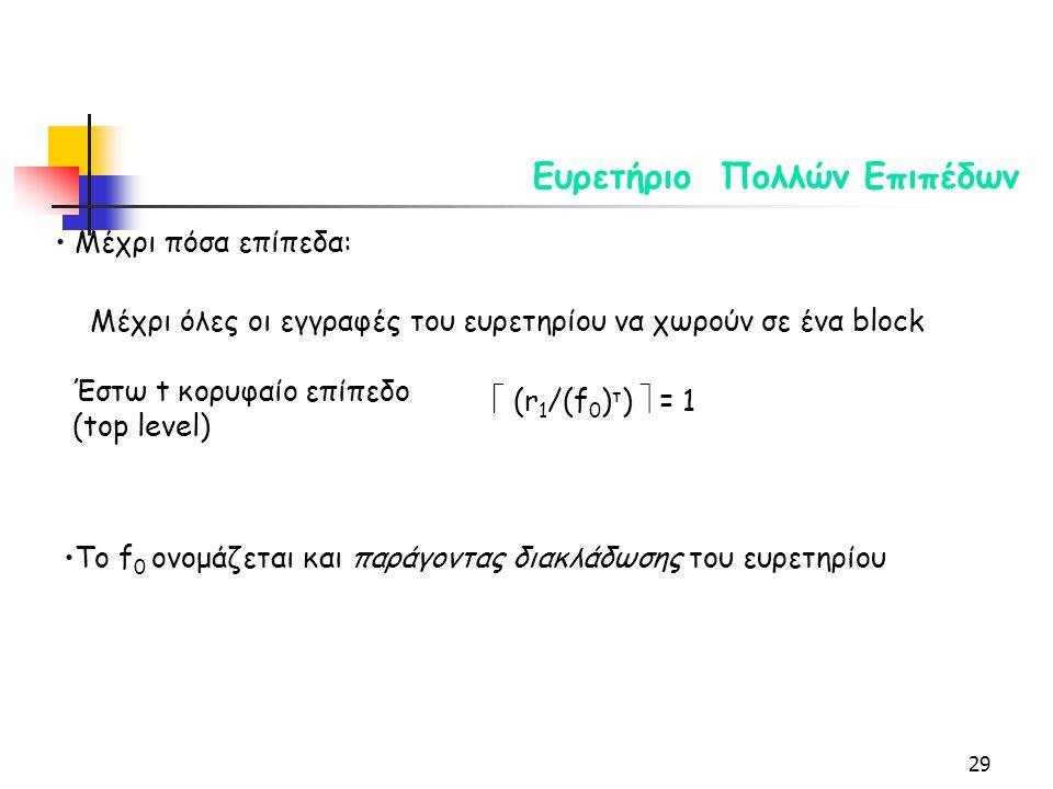 29 Ευρετήριο Πολλών Επιπέδων Μέχρι πόσα επίπεδα: Μέχρι όλες οι εγγραφές του ευρετηρίου να χωρούν σε ένα block Έστω t κορυφαίο επίπεδο (top level)  (r 1 /(f 0 ) τ )  = 1 Το f 0 ονομάζεται και παράγοντας διακλάδωσης του ευρετηρίου