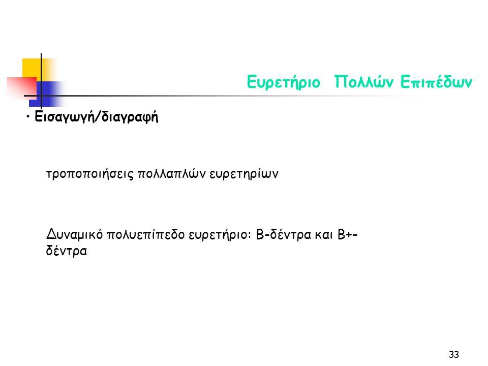 33 Ευρετήριο Πολλών Επιπέδων Εισαγωγή/διαγραφή τροποποιήσεις πολλαπλών ευρετηρίων Δυναμικό πολυεπίπεδο ευρετήριο: Β-δέντρα και Β+- δέντρα