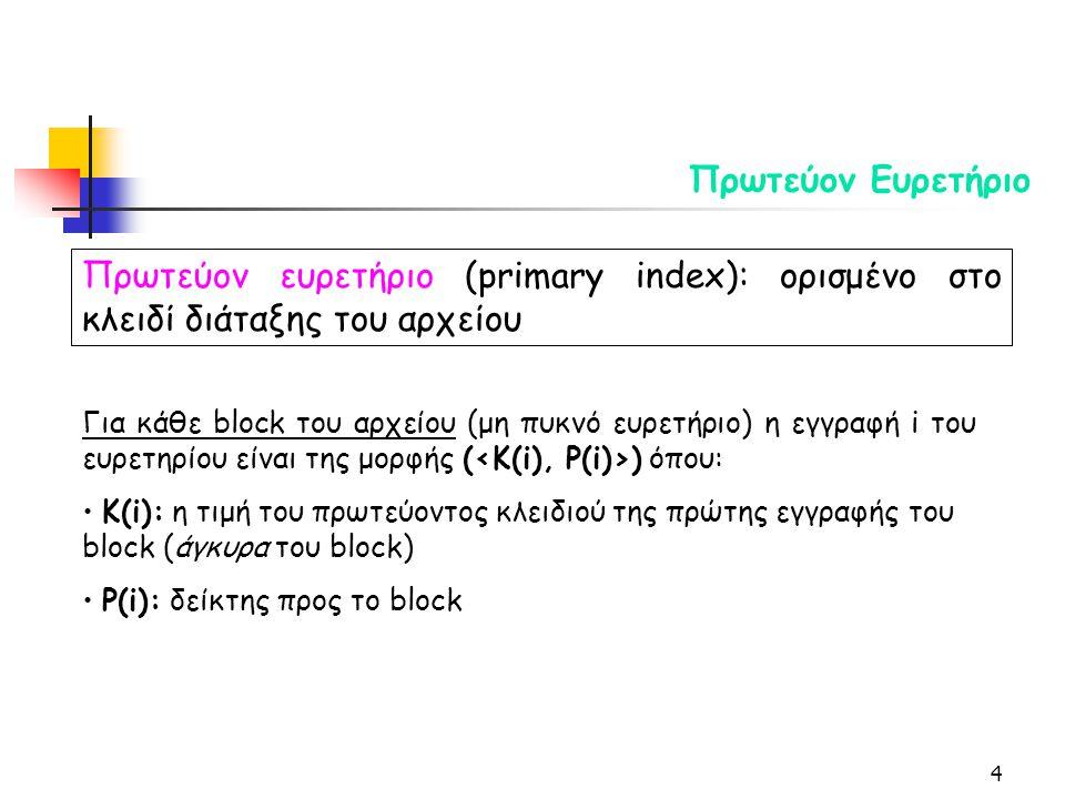 4 Πρωτεύον Ευρετήριο Πρωτεύον ευρετήριο (primary index): ορισμένο στο κλειδί διάταξης του αρχείου Για κάθε block του αρχείου (μη πυκνό ευρετήριο) η εγγραφή i του ευρετηρίου είναι της μορφής ( ) όπου: Κ(i): η τιμή του πρωτεύοντος κλειδιού της πρώτης εγγραφής του block (άγκυρα του block) P(i): δείκτης προς το block