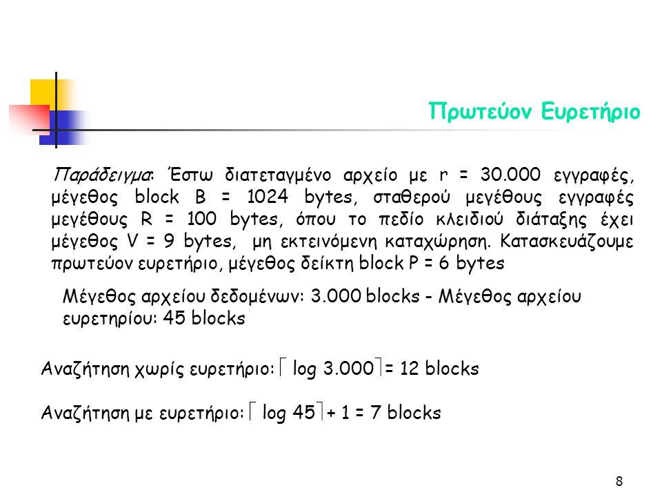 8 Πρωτεύον Ευρετήριο Παράδειγμα: Έστω διατεταγμένο αρχείο με r = 30.000 εγγραφές, μέγεθος block B = 1024 bytes, σταθερού μεγέθους εγγραφές μεγέθους R = 100 bytes, όπου το πεδίο κλειδιού διάταξης έχει μέγεθος V = 9 bytes, μη εκτεινόμενη καταχώρηση.
