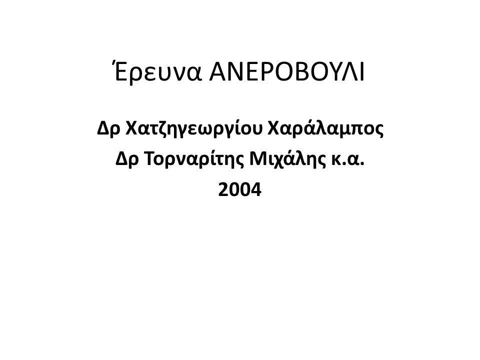 Έρευνα ΑΝΕΡΟΒΟΥΛΙ Δρ Χατζηγεωργίου Χαράλαμπος Δρ Τορναρίτης Μιχάλης κ.α. 2004
