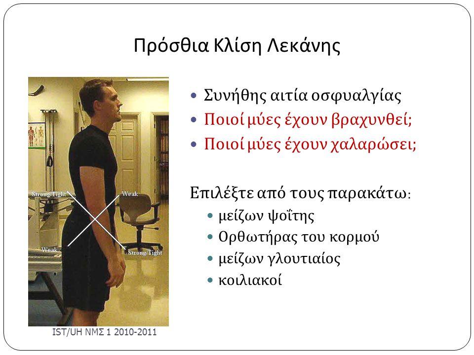 Πρόσθια Κλίση Λεκάνης Συνήθης αιτία οσφυαλγίας Ποιοί μύες έχουν βραχυνθεί; Ποιοί μύες έχουν χαλαρώσει; Επιλέξτε από τους παρακάτω : μείζων ψοΐτης Ορθω